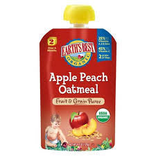 Earth`s Best 12 pack case Baby Foods Apple Peach Oatmeal Organic 4.2  oz