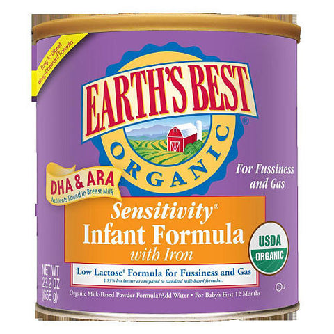 Earth`s Best 4 pack case Baby Food Formula Sensitivity w/Iron, Organic 23.2 oz