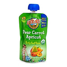 Earth`s Best 12 pack, Baby Food, Puree, Pear Carrot Apricot 3rd, Organic, 4.2 oz