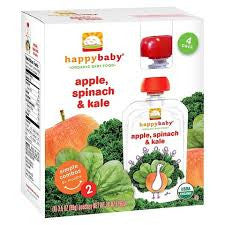 Happy Baby 16 pack case Apple Spinach Kale Organic 3.5 oz
