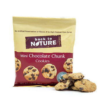 Back to Nature 100 pack case Cookies Chocolate Chunk Mini 1.25 oz