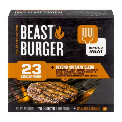 Beyond Meat 10 pack case, Meat Free, Beast Burger, Contains two 1/4 lb. Patties Per Package. (20 Patties total. 8 oz