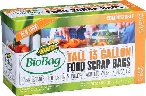Biobag, 12 pack case, Tall Kitchen Waste Bag, 12 Bags ea. 13 Gallon