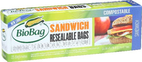 Biobag, 12 pack case, 25 bags ea. Resealable, Sandwich Bags