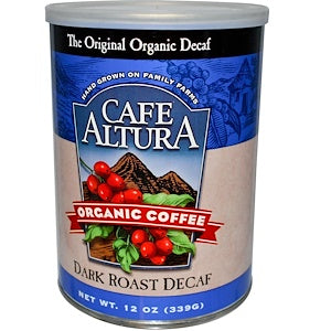Cafe Altura, 6 pack case, Coffee Ground, Dark, Decaffinated, Organic, 12 oz