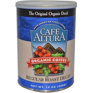 Cafe Altura, 6 pack case, Coffee Ground, Regular, Decaffinated, Organic, 12 oz