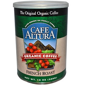 Cafe Altura, 6 pack case, Coffee Ground, French Roast, Organic, 12 oz