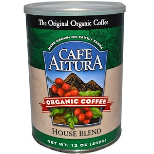 Cafe Altura, 6 pack case, Coffee Ground, House Blend, Organic, 12 oz