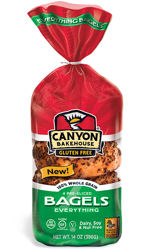 Canyon Bakehouse 6 pack Bagel Everything Gluten Free Frozen 14 oz