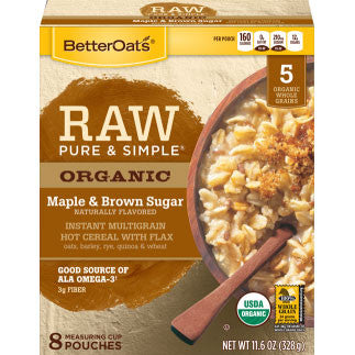Better Oats 6 pack case, Maple & Brown Sugar, 8 Pouches, Organic 11.8 oz