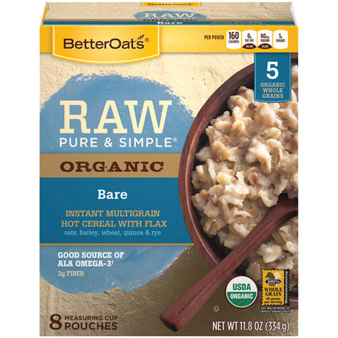 Better Oats 6 pack case, Cereal, Bare, 8 Pouches, 11.8 oz