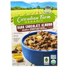 Cascadian Farm 6 pack case, Cereal, Dark Chocolate Almond Granola, Organic, 13.25 oz