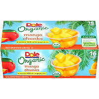 Dole 16 pack case Organic Mango Chunks 4 oz