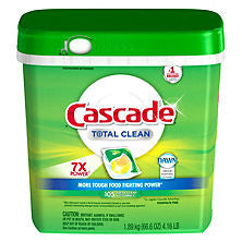 Cascade 1 ct Total Clean Gel Dishwasher Detergent Pacs, Fresh Scent 105 pack