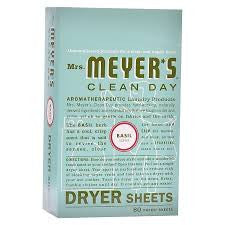 Mrs Meyers 12 pack case Clean Day , Dryer Sheets, Basil 80 ct ea