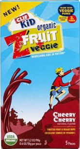 Clif Kid 6/5 pack case 30 ct Kids Twist Fruit Plus Veggie Organic Cherry .7 oz