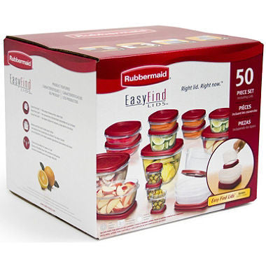 Rubbermaid, 50 Piece Set, Easy Find Lids Food Storage Set, Bases and lids, Microwave-, freezer- and top-shelf dishwasher-safe