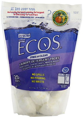 Ecos, Earth Friendly Products 6 pack,Free/Clear Detergent Pods, 18 oz