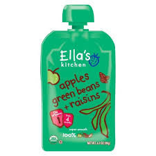 Ella`s Kitchen 12 pack case , Baby Food, Apple Green bean Raisin, Organic, 3.5 oz