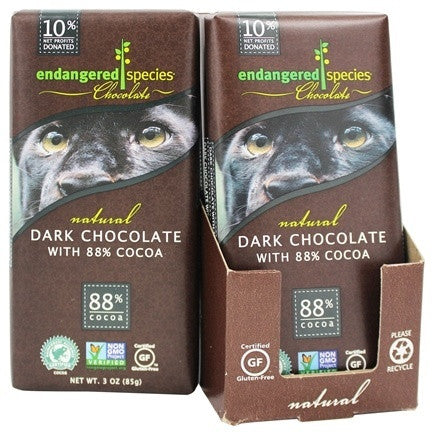 Endangered Species 12 pack case, Panther, W/85 % Cocoa 4.2 oz