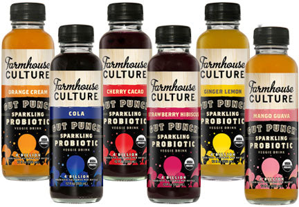 Farmhouse Culture 12 pack, Gut Punch, Strawberry Hibiscus, Organic, 12 oz