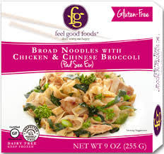 Feel Good Foods 8 pack case, Meal, Broad Noodles With Chicken & Broccoli Gluten Free, 9 oz
