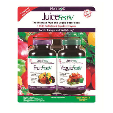Juice Festiv 2 pack, 120+120, 46 fruits, vegetables, spirulina, wheatgrass, barley grass, Antioxidants, probiotics and digestive enzymes, The Ultimate Fruit and Veggie Super Food™