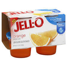 Gelatin 24 pack case Jell-O Orange Sugar Free 3.5 oz
