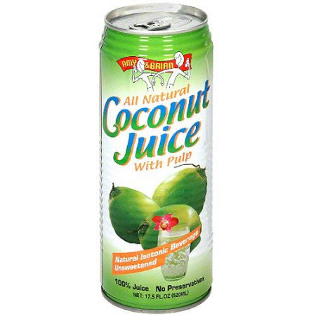 Amy & Brian 12 pack case, Juice, Natural Coconut With Pulp, Organic 17.5 oz