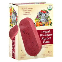 Julie`s Organic Ice Cream 48 pack case, Sorbet Bars, Blackberry, Organic, 2.5 oz