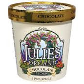 Julie`s Organic Ice Cream 6 pack case Chocolate, Organic, Kosher 16 oz