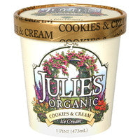 Julie`s Organic Ice Cream 6 pack case Cookies & Cream, Organic 1 pt