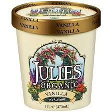 Julie`s Organic Ice Cream 6 pack case Vanilla, Organic, Kosher 1 pt