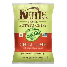 Chips Kettle 15 pack case, Chips, Avocado Oil Chili Lime, 4.2 oz