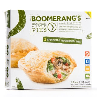 Boomerang`s Pies 6 pack, Entrée, Spinach & Mushroom 12 oz