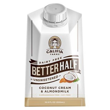 Califia Farms 16 pack case, Dairy Free, Half Creamer Coconut Cream & Almond Milk, Unsweetend 16.9 oz
