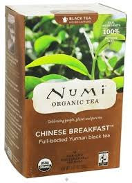 Numi Tea 6 pack case 18 ct ea Black Chinese Breakfast Organic