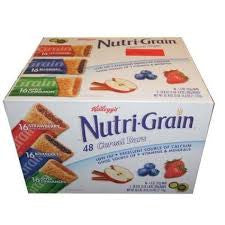 Bar Nutri Grain 48 pack case Cereal Assorted Strawberry, Blueberry, Apple 1.3 oz