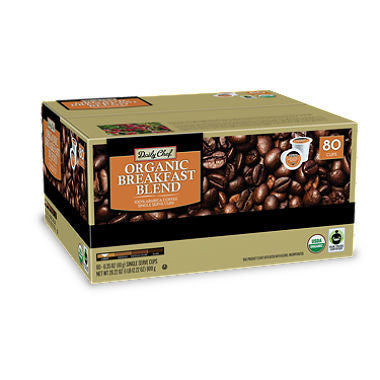 Daily Chef Organic Breakfast Blend Coffee, Single Serve, Compatible with all Keurig brewing systems including 2.0 (80 ct.) .35 oz