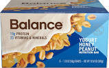Balance 6 pack Bar Yogurt Honey Peanut 1.76 oz