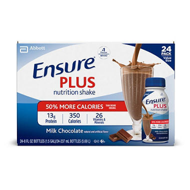 Ensure Plus 24 pack case Creamy Milk Chocolate Shake 8 oz