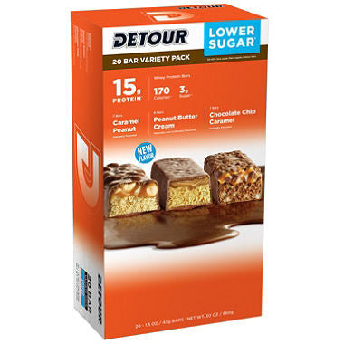 Detour 20 pack Lower Sugar Protein Bar, Variety Pack 1.5 oz