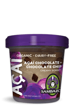 Sambazon 8 pack case Acai Chocolate + Chocolate Chip 16 oz
