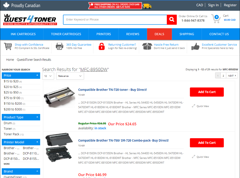 How to properly search for products on Quest4Toner.ca