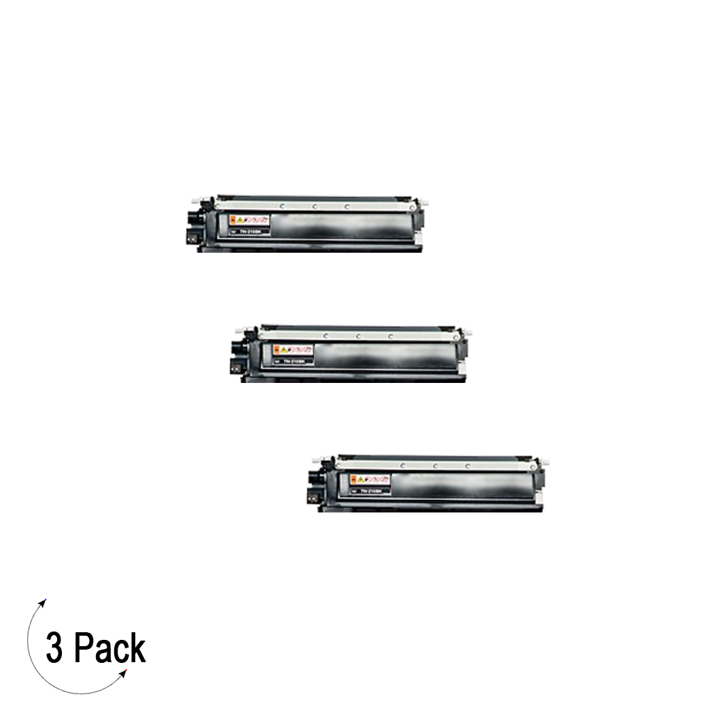 Compatible Brother TN 210 Black Toner 3 Pack