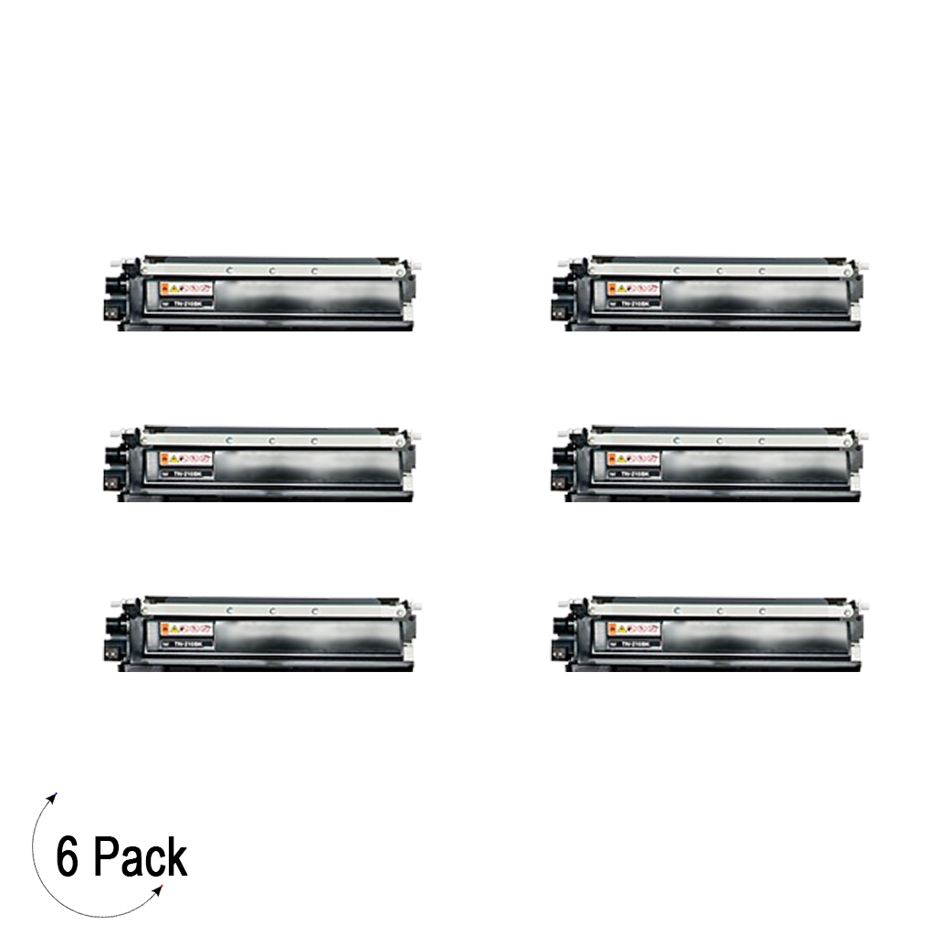 Compatible Brother TN 210 Black Toner 6 Pack