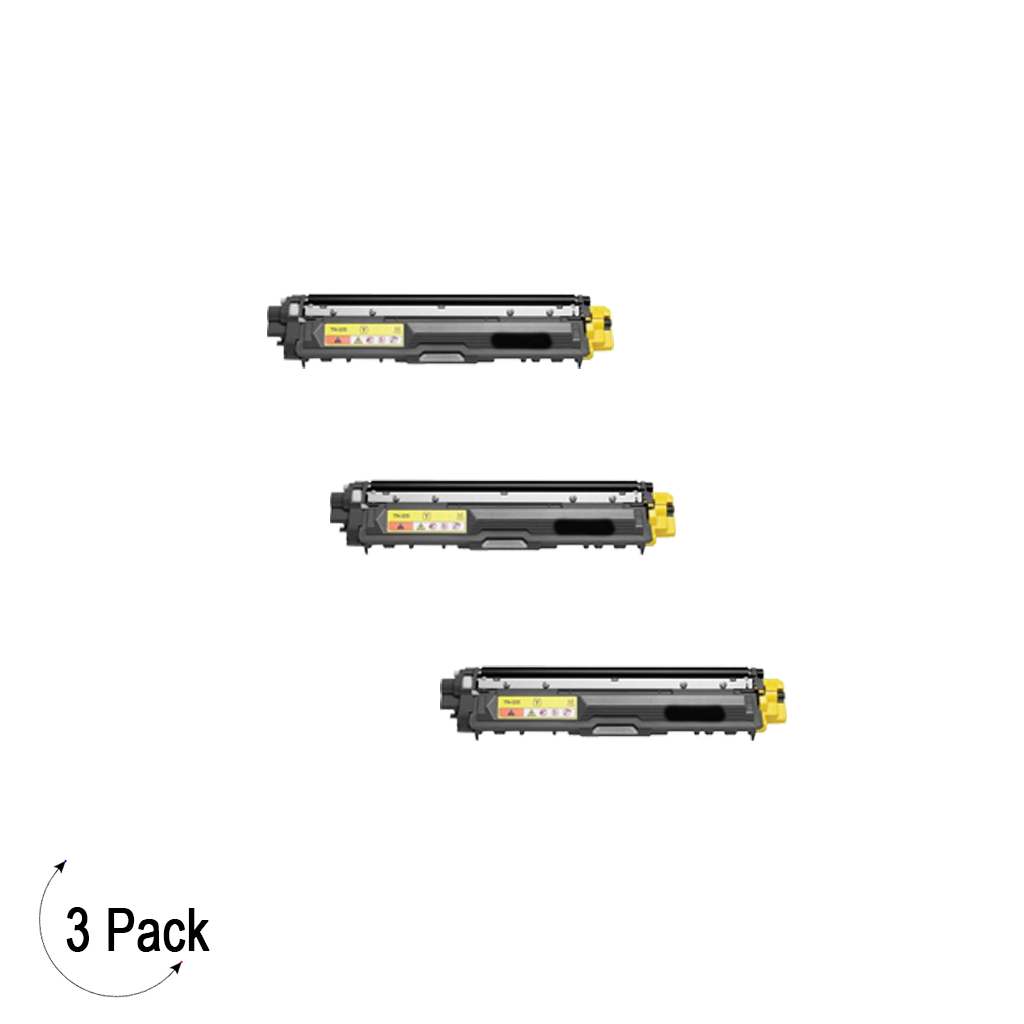 Compatible Brother TN 225 Yellow Toner 3 Pack