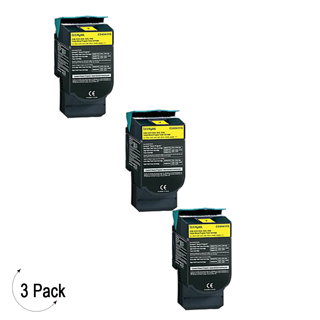 Compatible Lexmark C54X X54X Yellow -Toner 3 Pack (C540H2YG)
