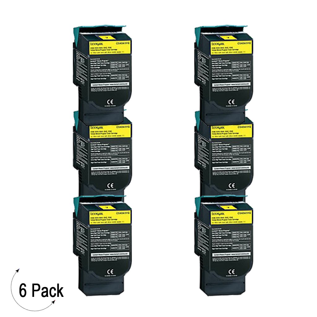 Compatible Lexmark C54X X54X Yellow -Toner 6 Pack (C540H2YG)