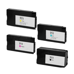 Compatible HP 711 Ink/Inkjet Cartridge Set Black Cyan Yellow Magenta